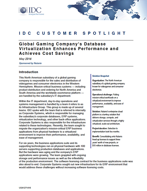 IDC Spotlight: Global Company Goes AHV for Databases