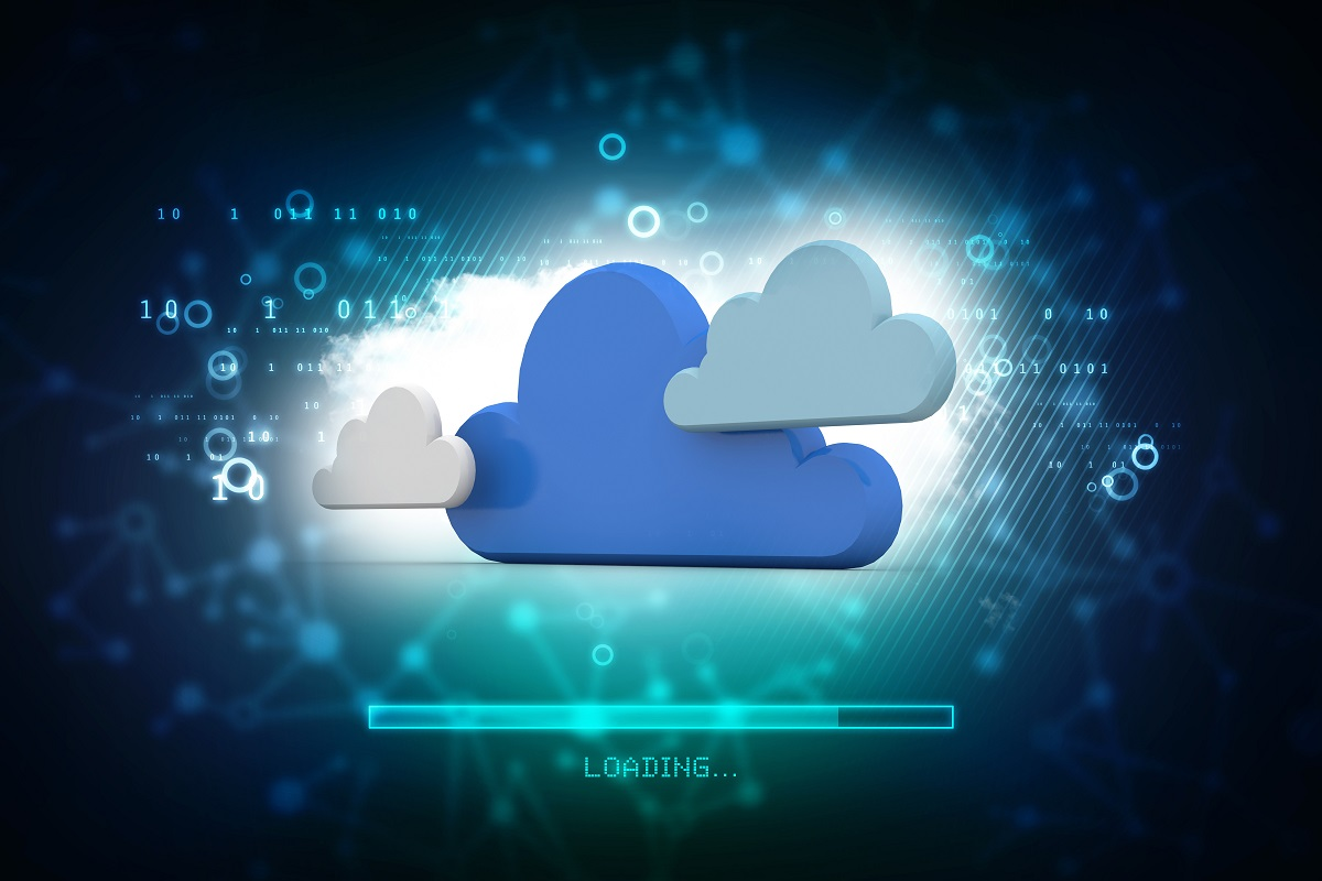 3d illustration of Cloud networking concept in abstract technology background.