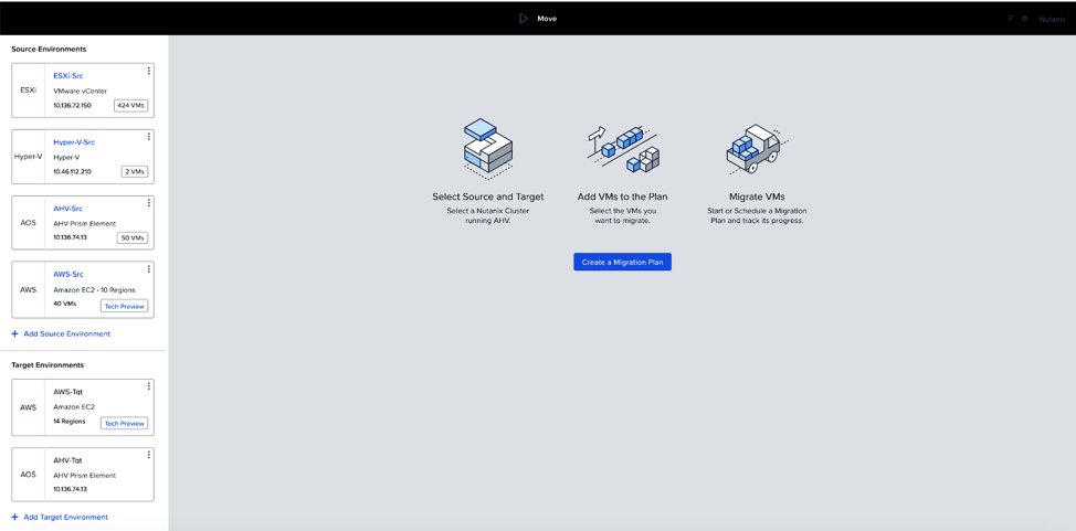 Nutanix Move Screen Shot