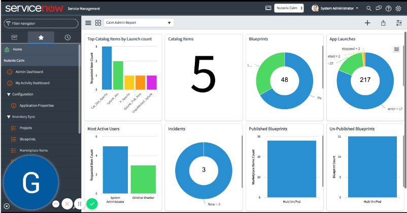 ServiceNOW user dashboard
