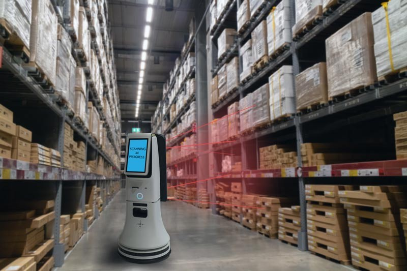 A robot inside a warehouse retail chain story analyzing shelf space.